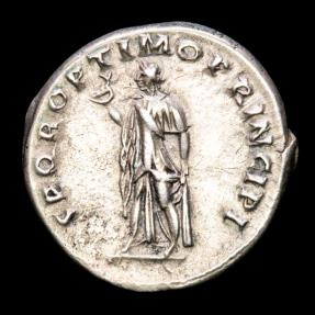 Ancient Coins - Trajan (AD 98-117) - Silver Denarius - Rome. - SPQR OPTIMO PRINCIPI, Spes walking left, holding flower and raising hem of skirt.