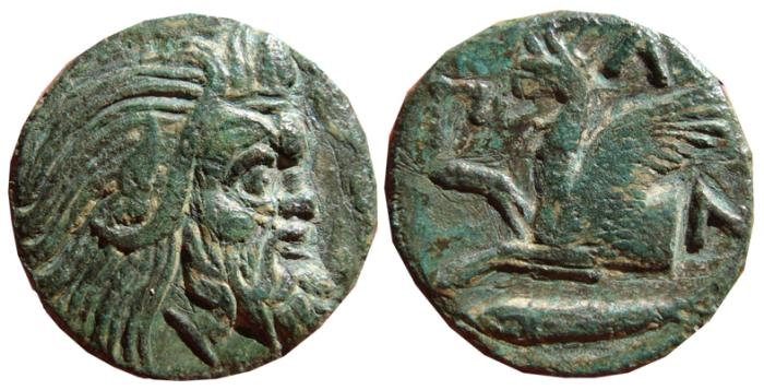 Ancient Coins - Pantikapaion, Tetrachalkion, ca. 314-310 B.C. Forepart of Griffin