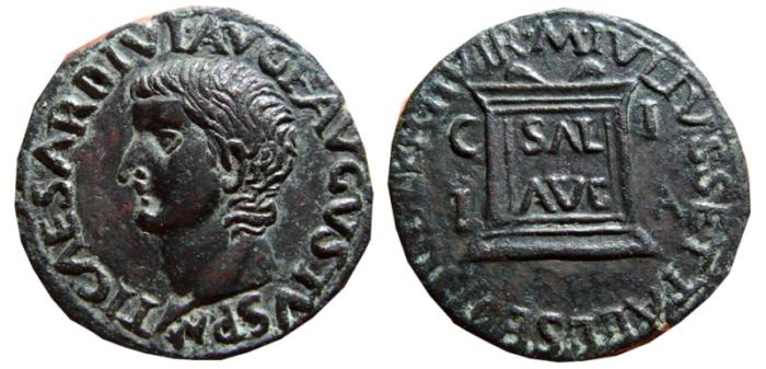 Ancient Coins - Tiberius AE as, Ilici ( Elche) SPAIN. 14-37 AD. Altar. SAL AVG C I I A M IVLIVS SETTAL L SESTI CELER II VIR. Scarce.