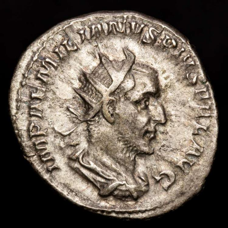 Ancient Coins - Aemilian - AR antoninianus. Rome mint, AD 253. - ROMAE AETERN, Roma, holding phoenix on glove and scepter; at her feet to right, shield.