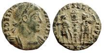 Ancient Coins - Delmatius AE half follis. Rome. 336-337. GLORIA EXERCITVS. R*Q. Rare.