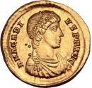 Arcadius. Gold solidus, Sirmium, AD 393-395. VICTORIA AVGGG Δ S-M // COMOB.