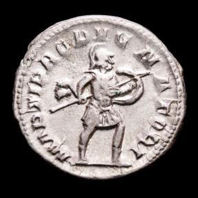 Ancient Coins - Hostilian, as Caesar (AD 250-251) Silver antoninianus, Rome. - MARTI PROPVGNATORI, Mars.