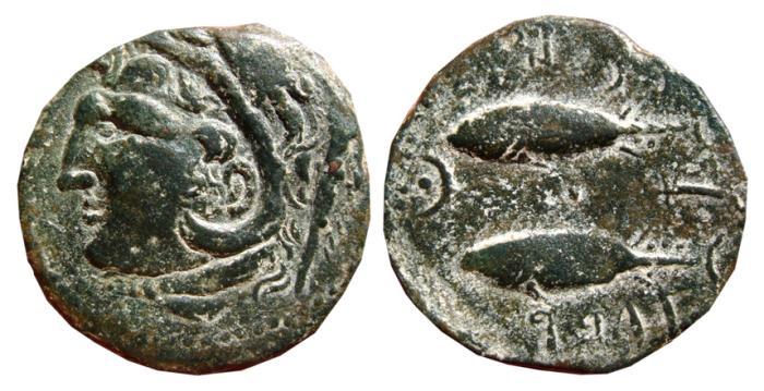 Ancient Coins - SPAIN, Gades (Cadiz) AE as. Two tuna to left. FAB-1339.