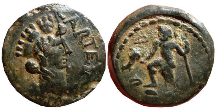 Ancient Coins - Spain Carteia (San Roque-Cadiz) semis. Neptune. CARTEIA. FAB-663.