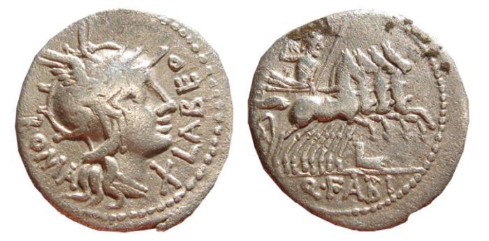 Ancient Coins - Q. Fabius Labeo AR denarius. 124 BC. Q FABI.