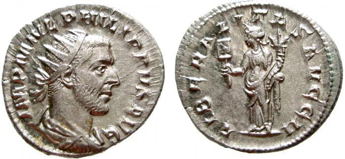 Ancient Coins - Philip I AR antoninianus. Rome, LIBERALITAS AVGG II. EF+