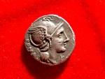 Ancient Coins - Roman Republic - L. Flaminius Chilo silver denarius (3,76 g. 18 mm.) minted in Rome, 109 B.C. Victory in galloping biga.
