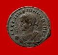 Ancient Coins - Roman Empire - Licinius II caesar (A.D. 317-324) bronze follis (2,97 g. 19 mm.). Aquilea mint, struck A.D. 320. VIRTVS EXERCIT / S-F. AQS. Very rare.