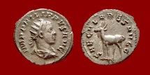Ancient Coins - Roman Empire - Philip II silver antoninianus minted in Rome in 248 A.D. 9th. emission, 3rd. officina. SECVLARES AVGG – Goat.