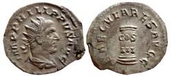Ancient Coins - Philip I AR antoninianus. 248 AD. Rome. SAECVLARES AVGG. Cippus inscribed COS/III