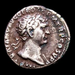 Ancient Coins - Trajan (98-117 A.d.) silver denariu, Rome 104-107 A.D. - S P Q R OPTIMO PRINCIPI, Dacian captive seated right; trophy behind.