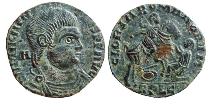 Ancient Coins - Magnentius AE 22. Lugdunum. 350-351 AD. GLORIA ROMANORVM, horseman. RPLG.