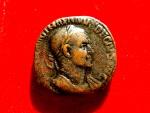 Ancient Coins - Roman Empire - Trajan Decius (249-251 A.D.) bronze sestertius (17,36 g. 27 mm.). Rome mint, 249-251 A.D. GENIVS EXERC ILLVRICIANI – Genius. RIC 117a.