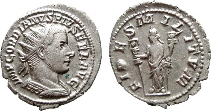 Ancient Coins - Gordian III AR antoninianus, Antioch, 242-244 AD. FIDES MILITVM. EF.