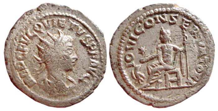 Ancient Coins - Quietus silvered antoninianus. Anticoh, 260-261 AD. IOVI CONSERVATORI. *. VF.