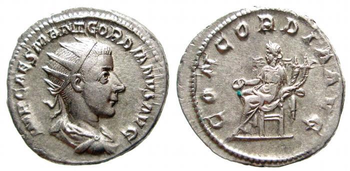 Ancient Coins - Gordian III AR antoninianus. Rome, 240 AD. CONCORDIA AVG. VF+