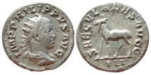Ancient Coins -  Philip II caesar (244 - 248 A.D.) silver antoninianus (4,04 g, 21mm),  Rome mint (248 A.D.).  9TH.  EMISSION, 3RD. OFFICINA. SECVLARES AVGG – Goat.