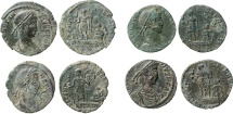 Roman Empire - Four roman bronze coins lot of Constans (2) and Constantius II (2) from Arles mint