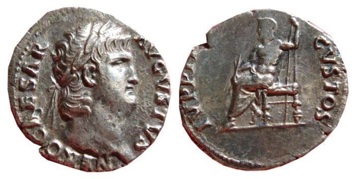 Ancient Coins - Nero AR denarius, Rome, AD 64-65. IVPPITER - CVSTOS. VF+. Scarce.