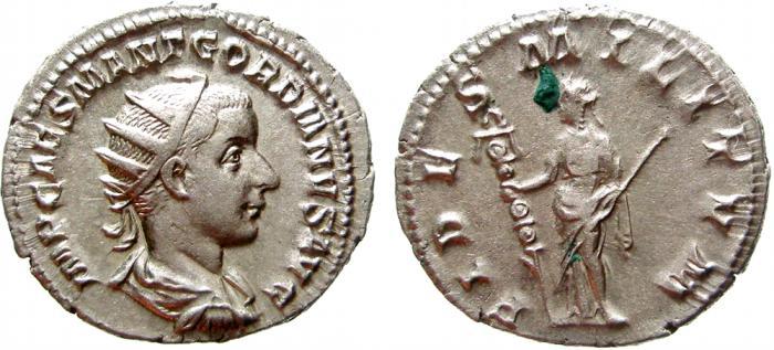 Ancient Coins - Gordian III AR antoninianus, Rome, 238-239 AD. FIDES MILITVM. EF+.