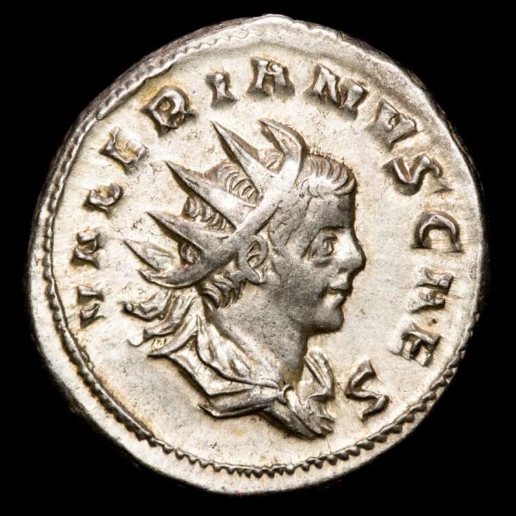 Ancient Coins - Valerianus II caesar. Silver antoninianus, Colonia Agrippinensis, AD 255. - IOVI CRESCENTI Infant Jupiter on goat.