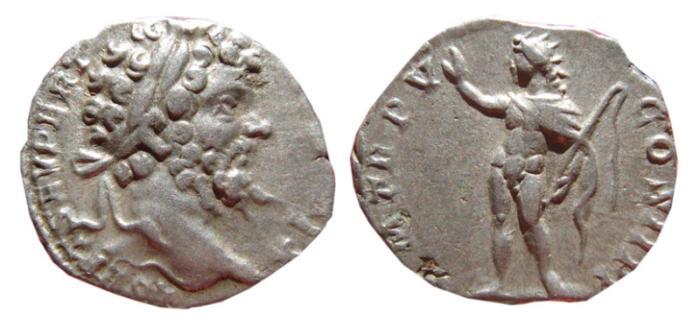 Ancient Coins - Septimius Severus AR denarius. Rome, 197 AD.  P M TR P V COS II P P, Sol.
