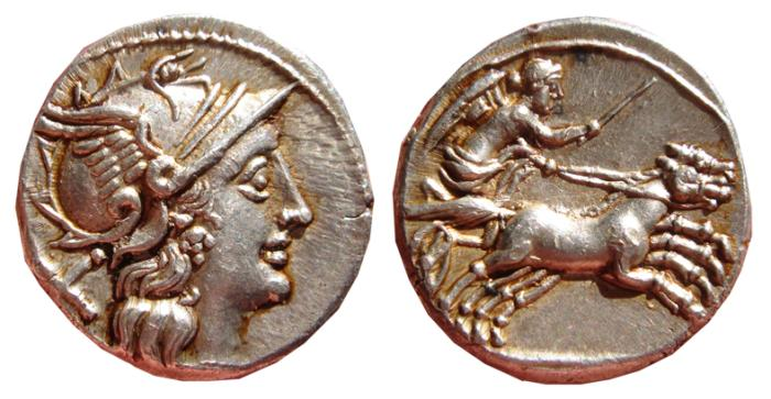 Ancient Coins - Anonymous republican AR denarius minted in Rome in 157 B.C. Victory in biga. EF.