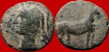 Ancient Coins - Carthaginian occupation, (mobile mint travelling with troops in Southern Spain during II Punic War (218-210 B.C.), bronze calco (9,20 grs. 23 mm.) Tanit head / horse