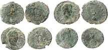 Roman Empire - Four roman bronze coins lot of Constans and Constantius II (3) from Arles mint.