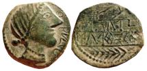 Ancient Coins - Spain, Obulco AE as. 220-20 B.C. Rought style. OBVLCO. Plow & ear. ORCAILV/NTUSTULDUCO. Ta.