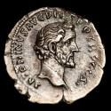 Ancient Coins - Antoninus Pius AD 138-161. Rome Denarius AR. - COS IIII, Fortuna holding rudder on globe and cornucopia.