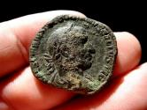 Ancient Coins - Trebonianus Gallus (251-253 A.D.), bronze sestertius (17,61 g. 28 mm.). Rome, 251-253 A.D. PAX AVGG, Pax standing left.