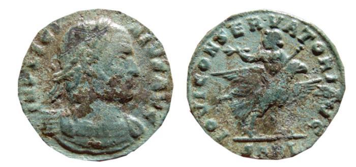 Ancient Coins - Licinius I follis. Arles, 308-324 AD. IOVI CONSERVATORI AVG, eagle. SARL.