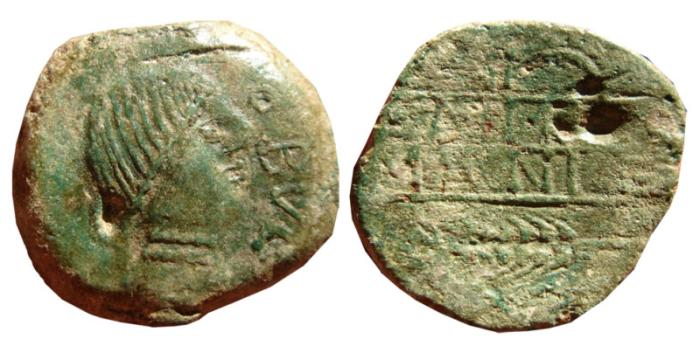 Ancient Coins - Spain, Obulco AE as, 220-20 B.C. OBVLCO. Plow and ear. Latin legends.