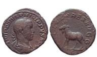 Ancient Coins -  Philippus II AE sestertius. Rome. Struck 248 AD. SAECVLARES AVGG, elk.