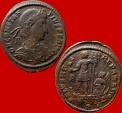 Ancient Coins - Roman Empire - Constantius II (337-361 A.D.) bronze maiorina (6,48 g. 23 mm.) from Rome mint, 348-350 A.D. FEL TEMP REPARATIO, Emperor on galley. A /R e. Rare.