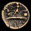 Ancient Coins - Arados, Phoenicia. ca 135-112 BC. Æ 21. - Poseidon on prow, Athena to left. Phoenician letters.