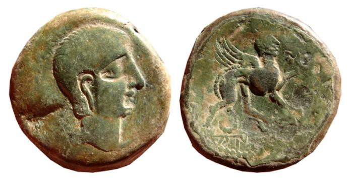 Ancient Coins - Spain, Castulo AE as. Sphinx. Heavy series.