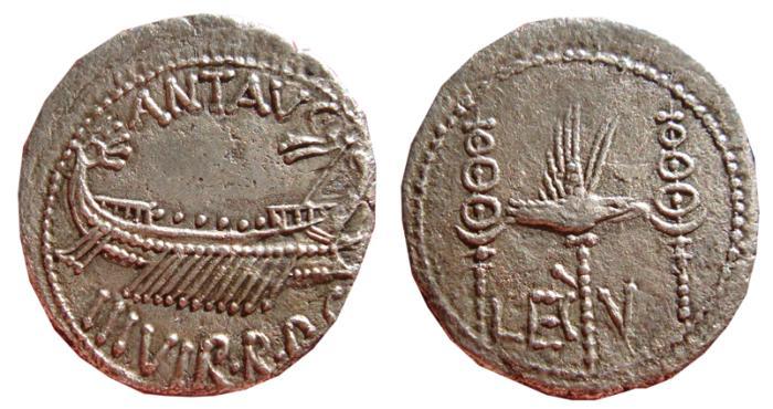 Ancient Coins - Mark Antony AR denarius, Patrae? mint, 32 - 31 B.C. ANT AVG / III VIR R P C. -  LEG - V, legionary eagle. VF+.