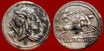 Ancient Coins - L Julius Bursio fouree AR denarius. 85 BC. LII. L IVLI BVRSIO.