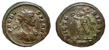 Ancient Coins - Probus silvered antoninianus, Rome mint. 276-282 AD. VICTORIA.AVG. R thunderbolt S.