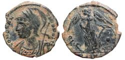 Ancient Coins - Constantinopolis AE half follis. Arles, PCONST. Chi-Rho. Scarce.