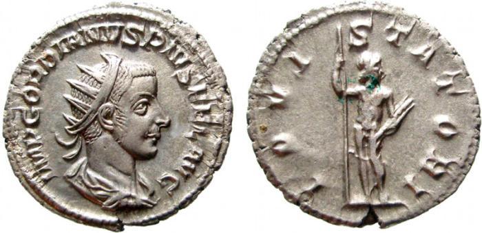 Ancient Coins - Gordian III AR antoninianus. Rome, 238-244 AD.  IOVI STATORI. EF