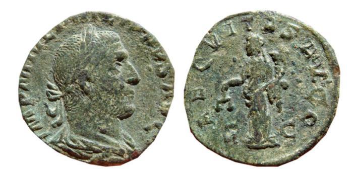 Ancient Coins - Philip I AE sestertius. Rome, 244-249 A.D. AEQVITAS.AVGG.S-C.