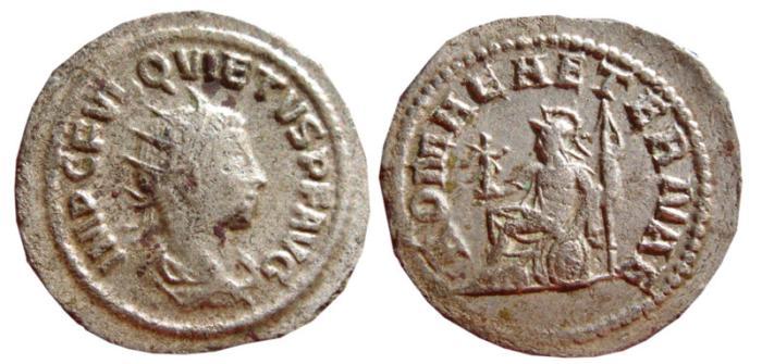 Ancient Coins - Quietus silvered antoninianus. Antioch, 260-261 AD. ROMAE AETERNAE. VF.