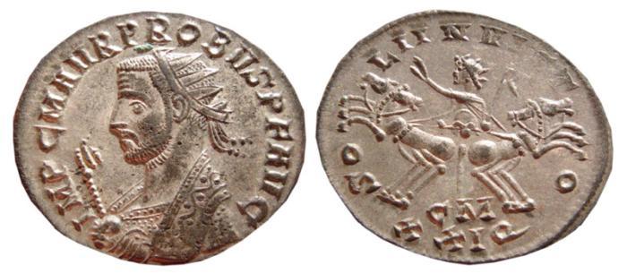 Ancient Coins - Probus silvered antoninianus. Cyzicus 276-282 AD. SOLI INVICTO, CM XXIQ. EF