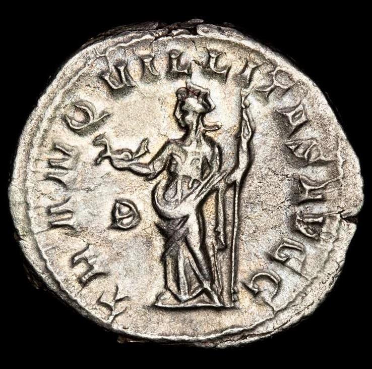 Ancient Coins - Philippus Arabs AD 244-249. Rome. Antoninian AR. - TRANQVILLITAS AVGG - B Tranquillitas holding capricorn and scepter.