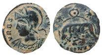 Ancient Coins - VRBS ROMA AE follis. Arles. Wreath/SCONST.