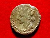 Ancient Coins - Juba II bronze unit (as) from Iol-Caesarea (Mauretania), 25-24 A.D. Turreted Tyche / Capricorn holding globe and cornucopia.